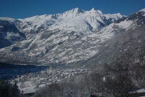 Vue hivernale sur Bourg St Maurice et Séez